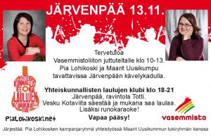 Järvenpää 13.11. juttuteltta ja yhteiskunnallisten laulujen klubi