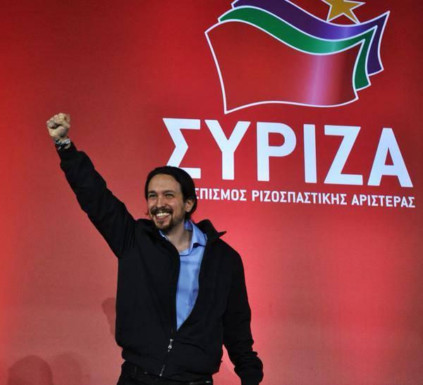 Podemoksen puheenjohtaja Pablo Iglesias tukemassa Kreikan Syrizan kampanjaa vaalien alla