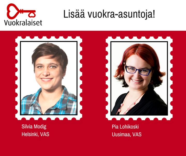 Pia Lohikoski ja Silvia Modig: lisää vuokra-asuntoja