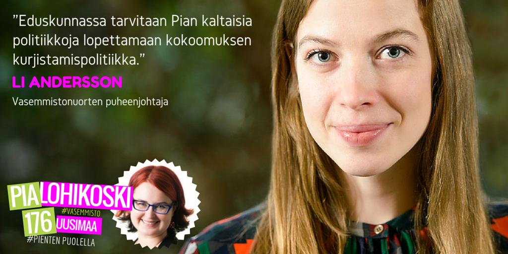 Li Andersson tukee Pia Lohikoskea eduskuntaan