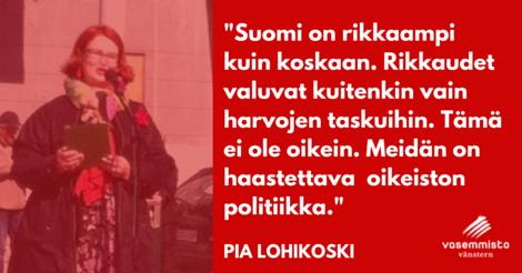 Meidän on haastettava oikeistopolitiikka, vaatii Pia Lohikoski vappupuheessaan Nummelassa ja Karkkilassa.